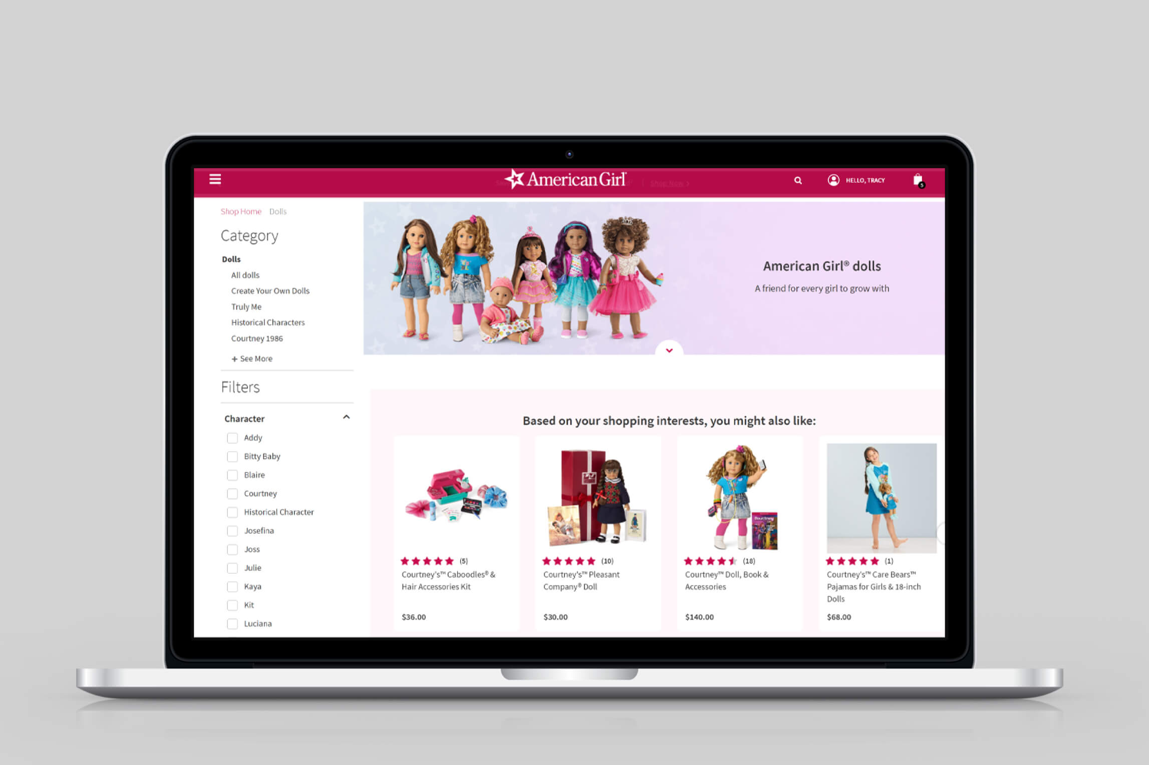American Girl eCommerce Page Design
